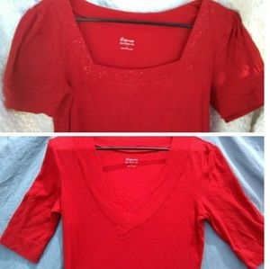 2 Express sz Large Red Sexy Basic Tee/Vee